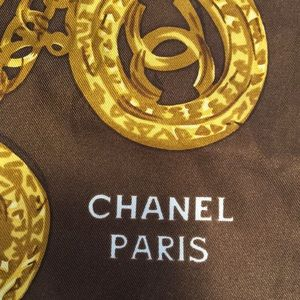 New Chanel large scarf gold brown and red
